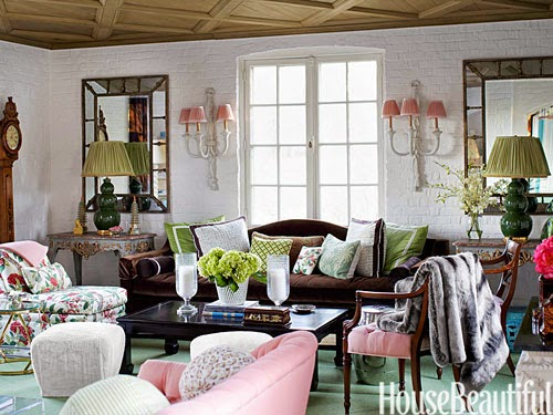 In Many Ivy League Preppy Style Homes But With The Use Of More Unique And Mis Matched Pictures Hot Pink Chairs Top Off Eclectic Space
