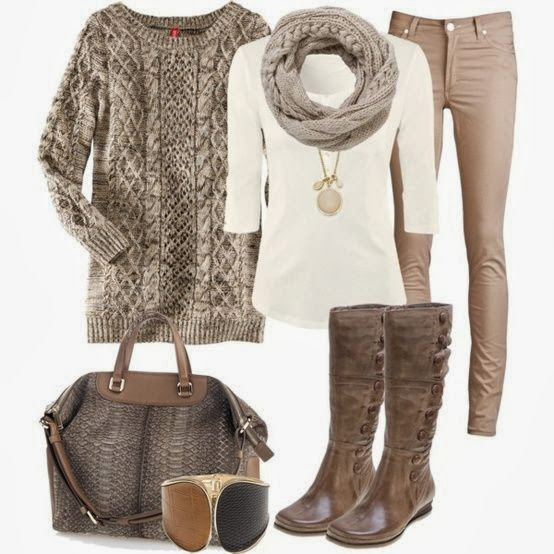 Amazing grey sweater, scarf, blouse, pants, handbag and long boots combination for fall