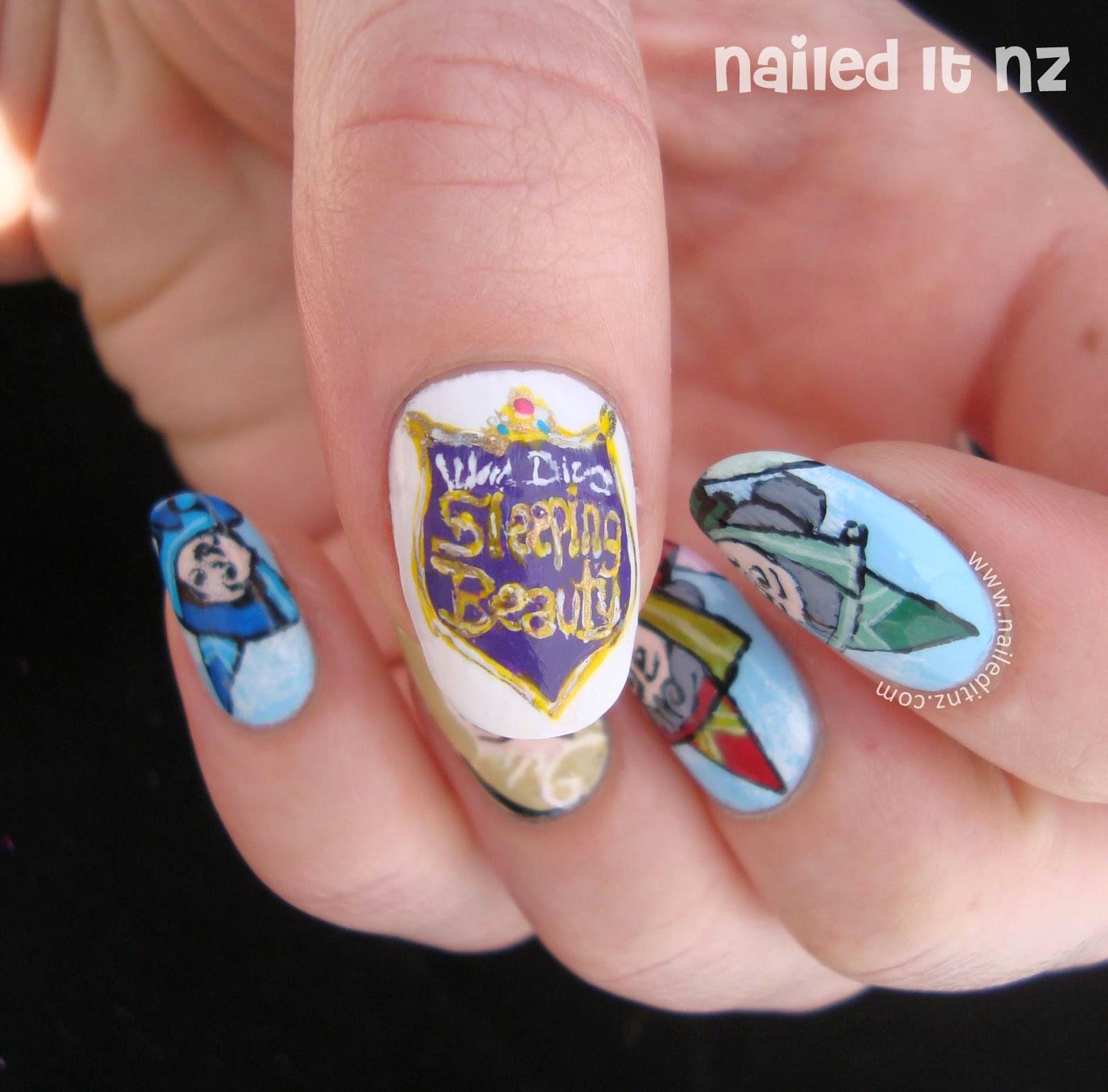 Sleeping Beauty Nails: Sleeping Beauty & Maleficent