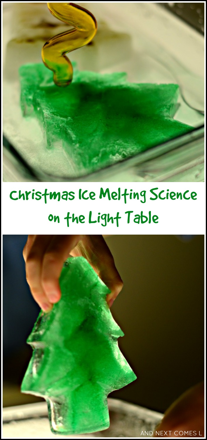 Christmas sensory science on the light table - melting frozen trees and bells from And Next Comes L