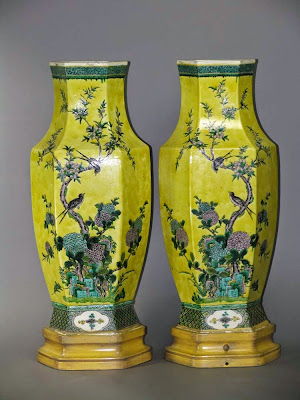 Pair Chinese famille jaune vases with verte enamels