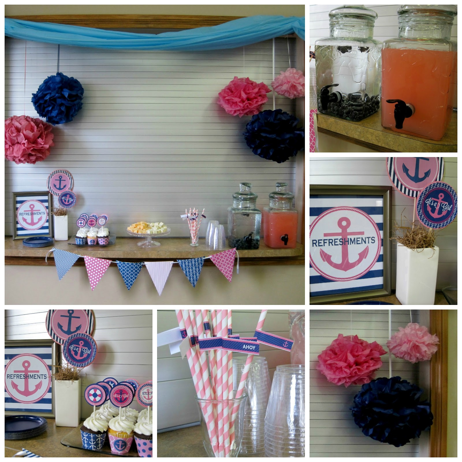 Pink and Navy Nautical Baby Shower with NBrynn Designs Dimple Prints