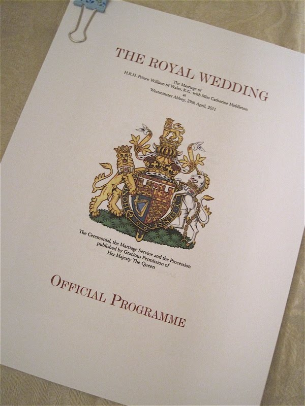 To my surprise and delight the royals had made the wedding program