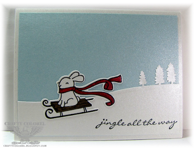 Crafty Colonel Donna Nuce for Cards in Envy blog, Lawn Fawn Winter Bunny, Stampin Up Sleigh Ride and Jingle all the Way, Winter Card