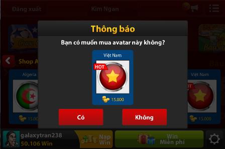 Đổi avatar mặc định trong iwin bằng shop avatar