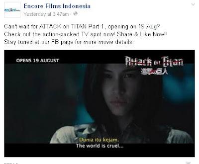 Encore Films Umumkan Live Action Shingeki no Kyojin Tayang Di Indonesia 19 Agustus 2015