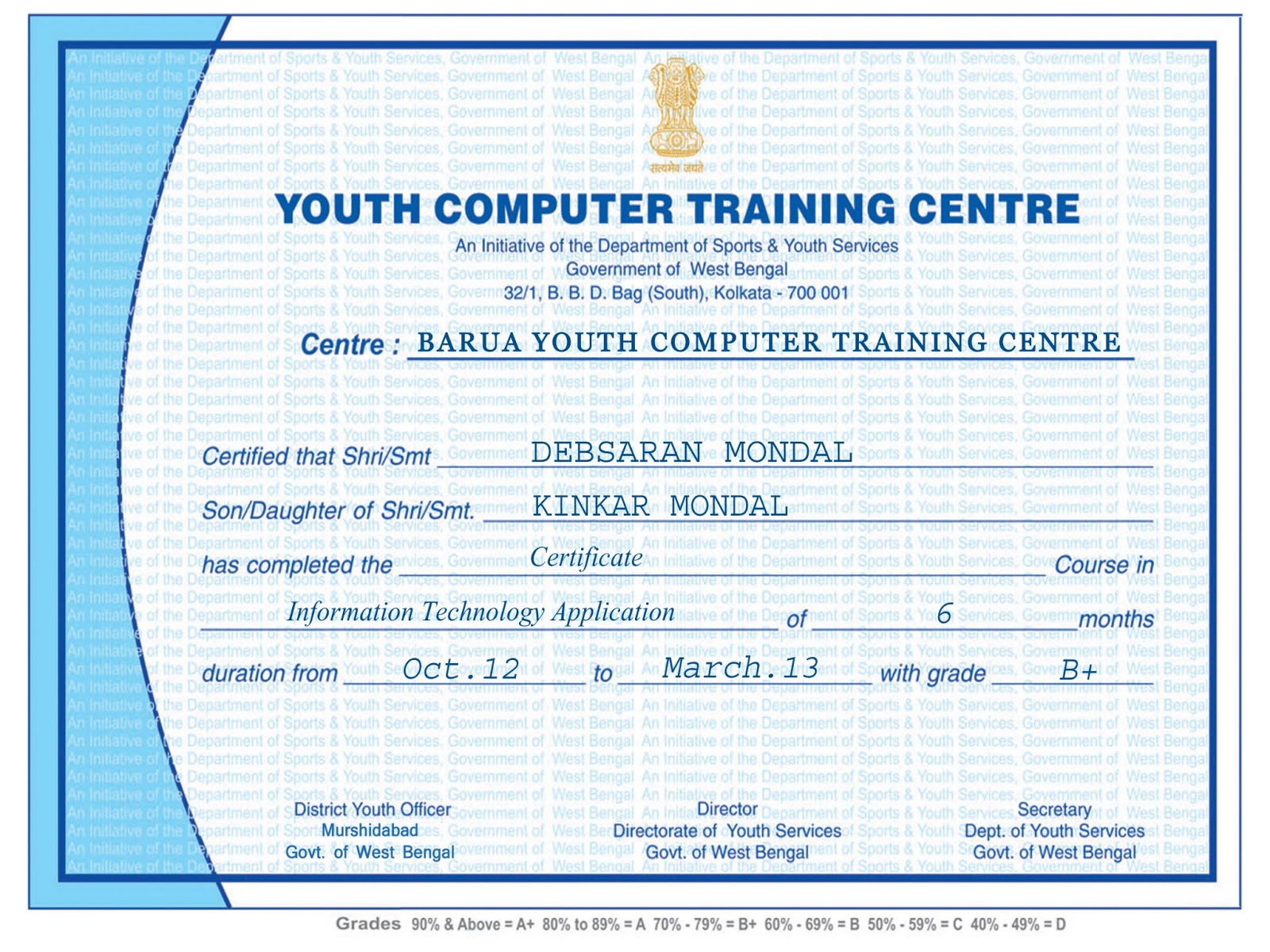 Sample of computer training certificate fieldstation sample of computer training certificate yadclub Choice Image