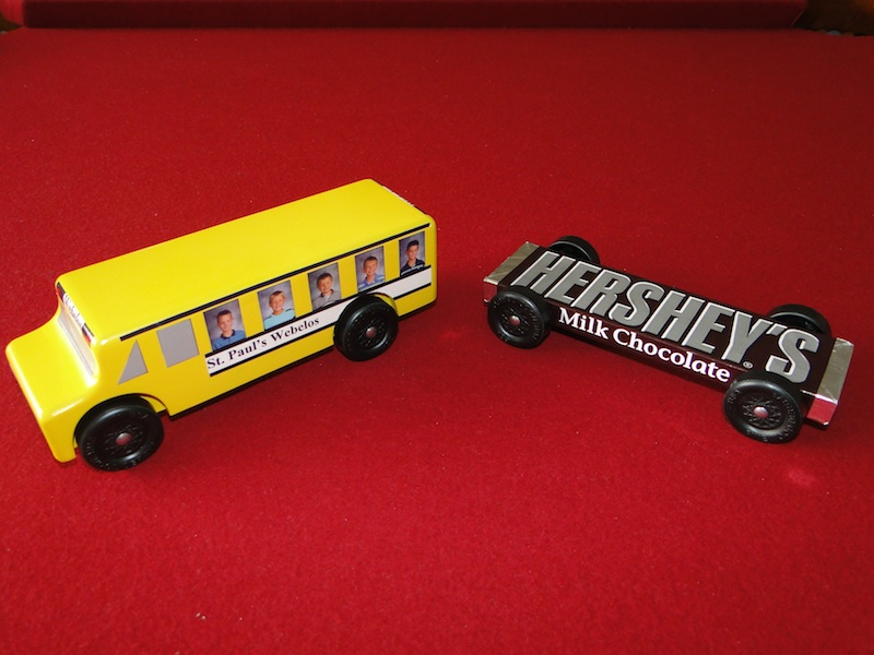 Scott S Workshop Notes Pinewood Derby Hershey Bar And Bus