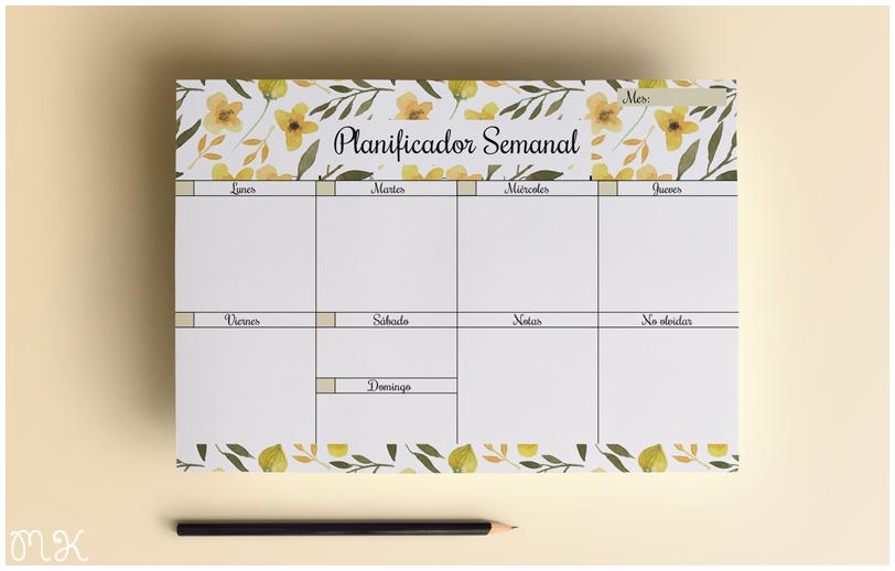 Planificador semanal imprimible miss katiuskablog con for Planificador cocinas gratis