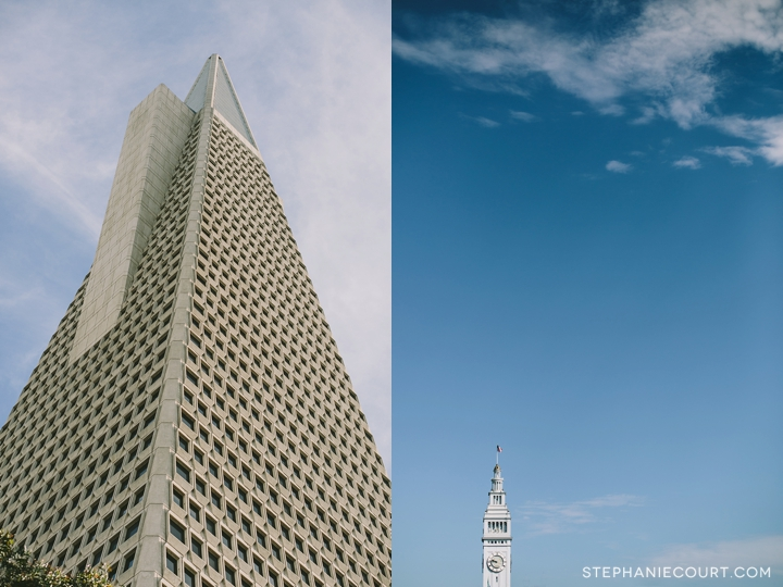 transamerica pyramid and ferry building in san francisco