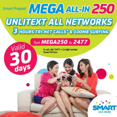 Smart Prepaid Mega All-In 250 Unli Text All Networks (Smart Telecoms PH)