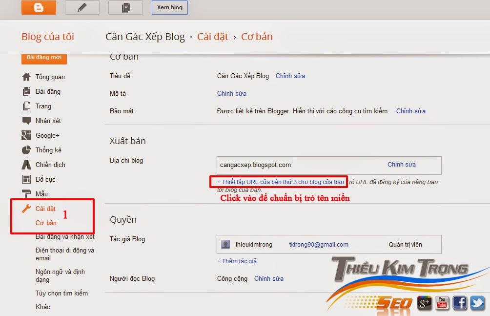 Cách trỏ tên miền mua ở Godaddy về Blogspot