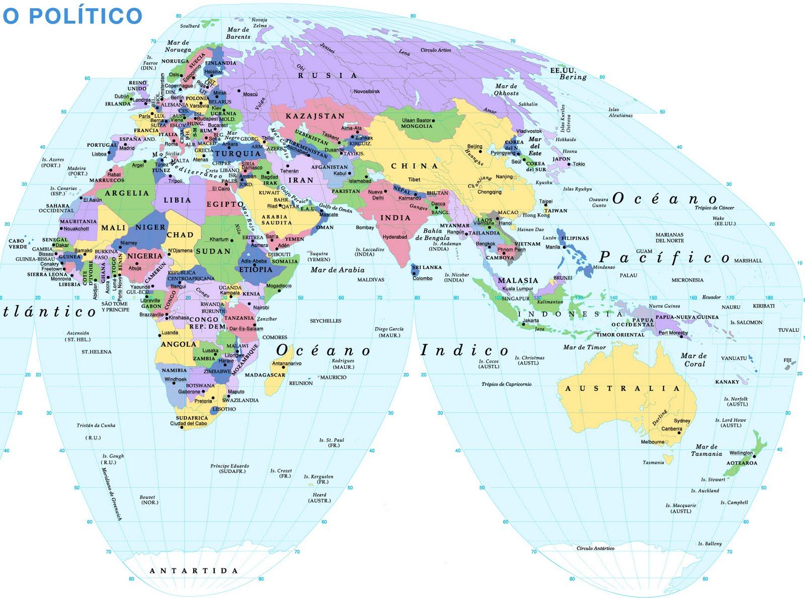 Mapa Politico Del Mundo Con Capitales