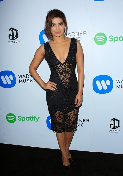 Priyanka Chopra Cleavage in Black Dress at GRAMMY