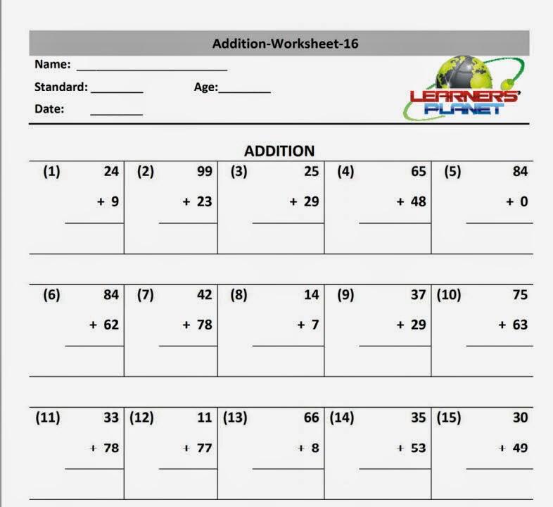 Maths Addition Worksheet Grade 2 Cbse Ncert Learners Planet
