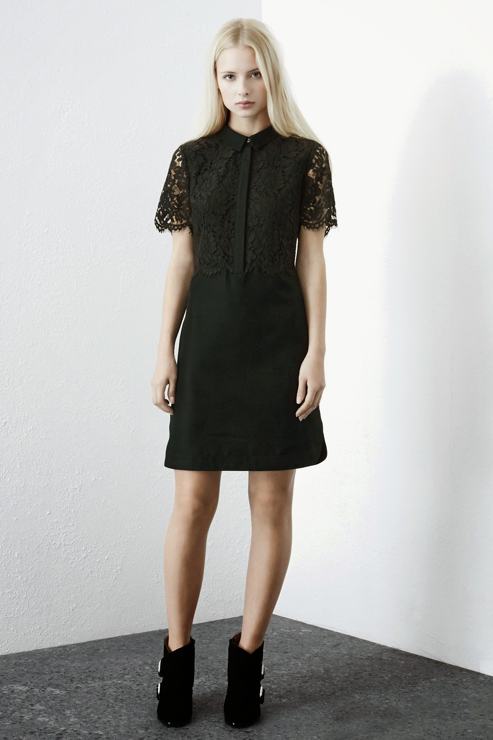 warehouse black lace dress