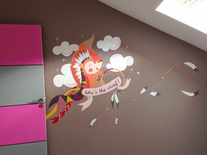 Cocotte en papier illustratrice - Dessin mural chambre fille ...