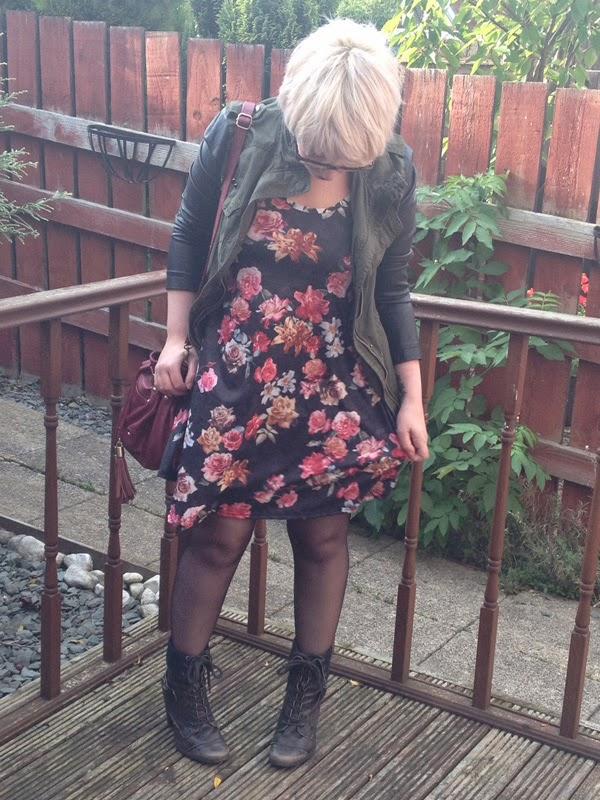 New Look Khaki Jacket, New Look Cami Dress, River Island Boots, ASOS Bag
