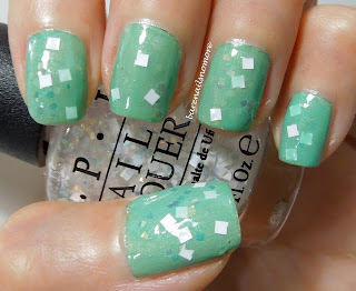 OPI Lights of Emerald City over Golden Rose minty jade green and China Glaze Cherish