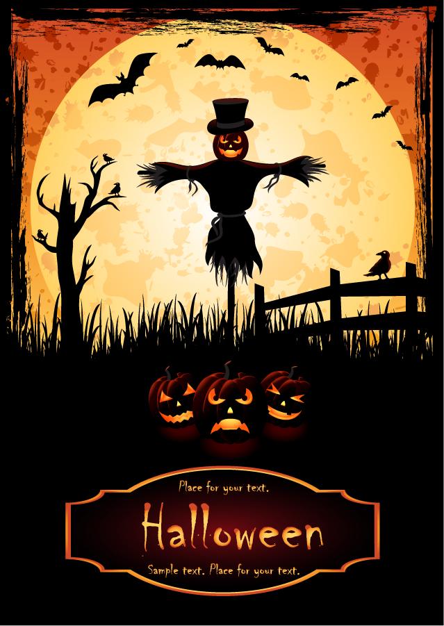ハロウィン ポスターの背景 halloween posters element vector イラスト素材1