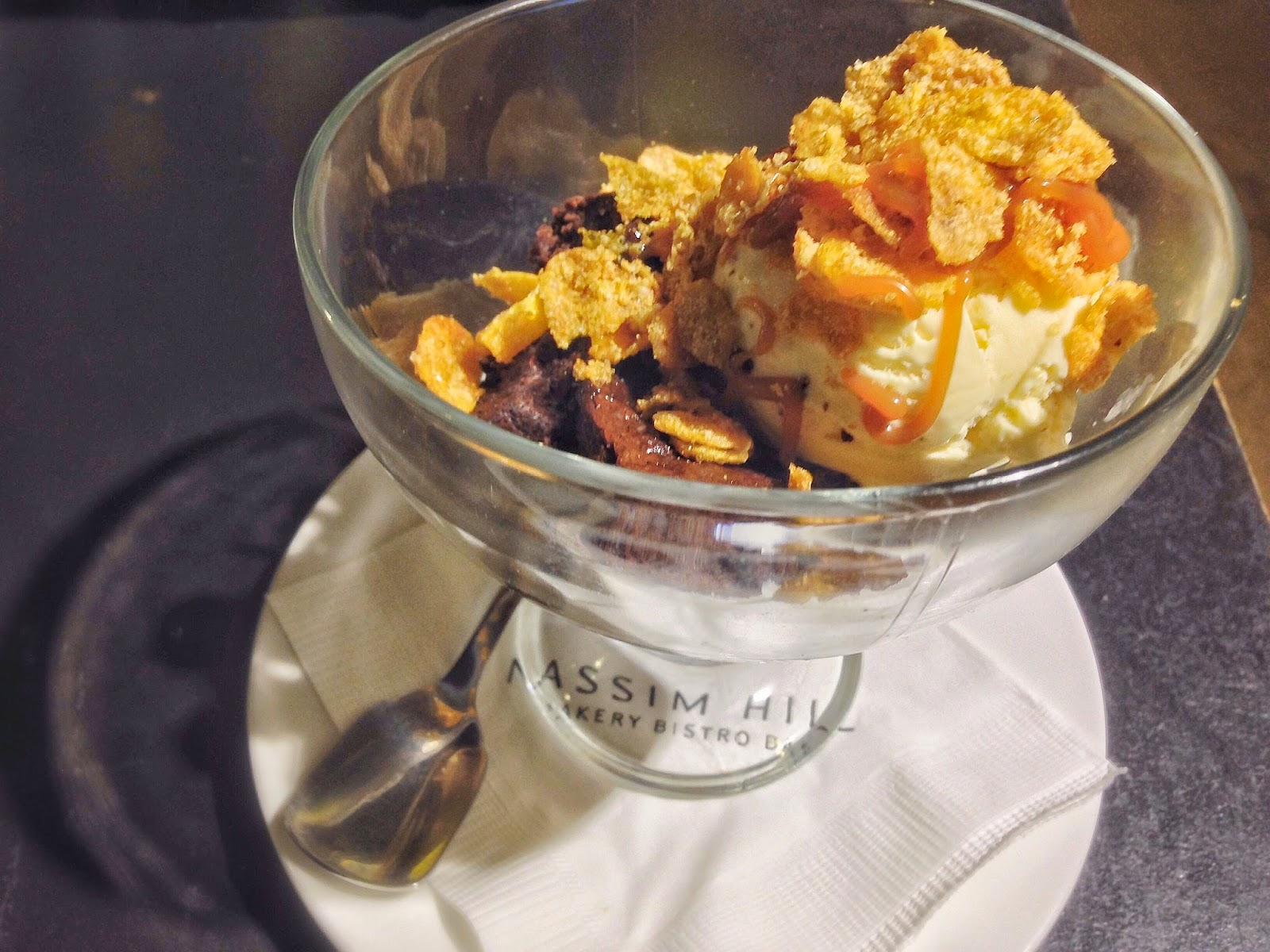 Brownie Parfait with Caramelised Corn Flakes, Salted Peanuts, Salted Caramel Sauce and Vanilla Ice-Cream ($10)