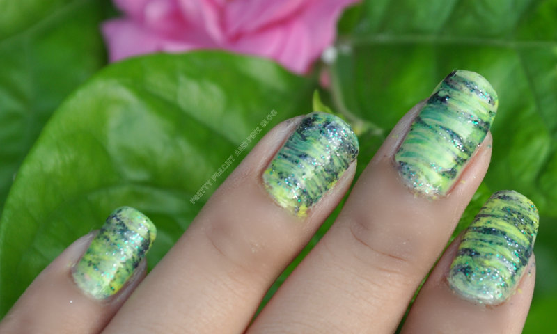 THE GREEN MANIcure using fan brushes