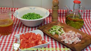 receta de guisantes rehogados