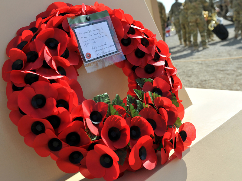 A wreath of poppies laid during the Armistice Day service at Camp Bastion in Afghanistan  [Picture: Sergeant Steve Blake RLC, Crown Copyright/MOD 2011