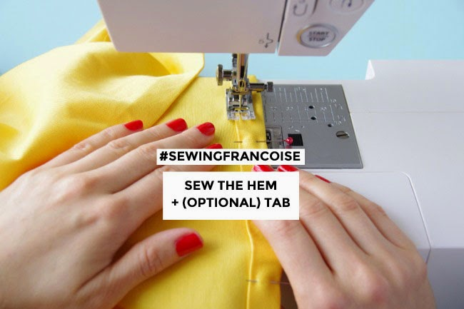 Sew a hem and tab