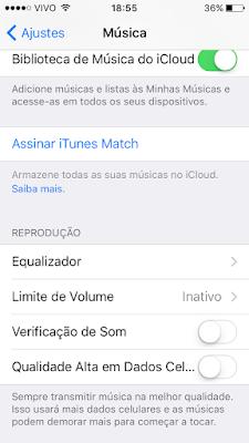 Qualidade das músicas pela rede celular - iOS 9
