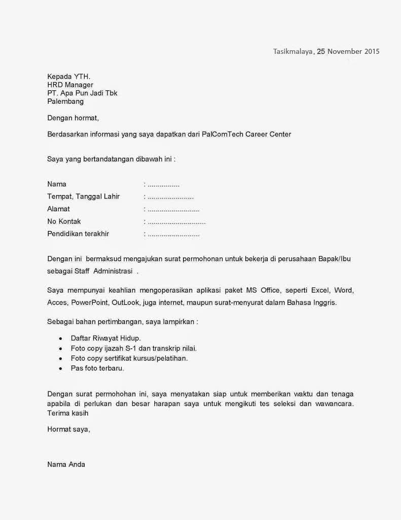 Contoh Cara Membuat Surat Lamaran Kerja Yang Baik dan Benar