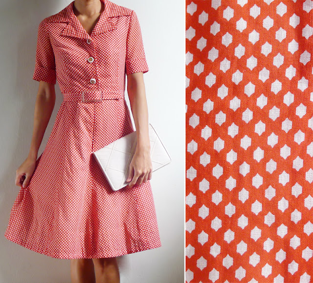 vintage 70's red & white print mod dress