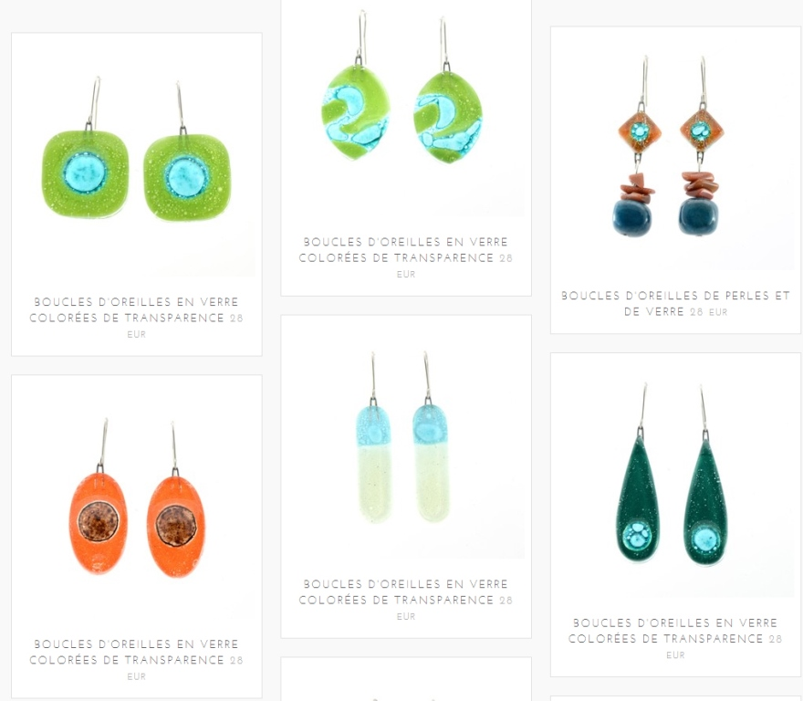 E-shop bijoux fantaisie colorés de transparence