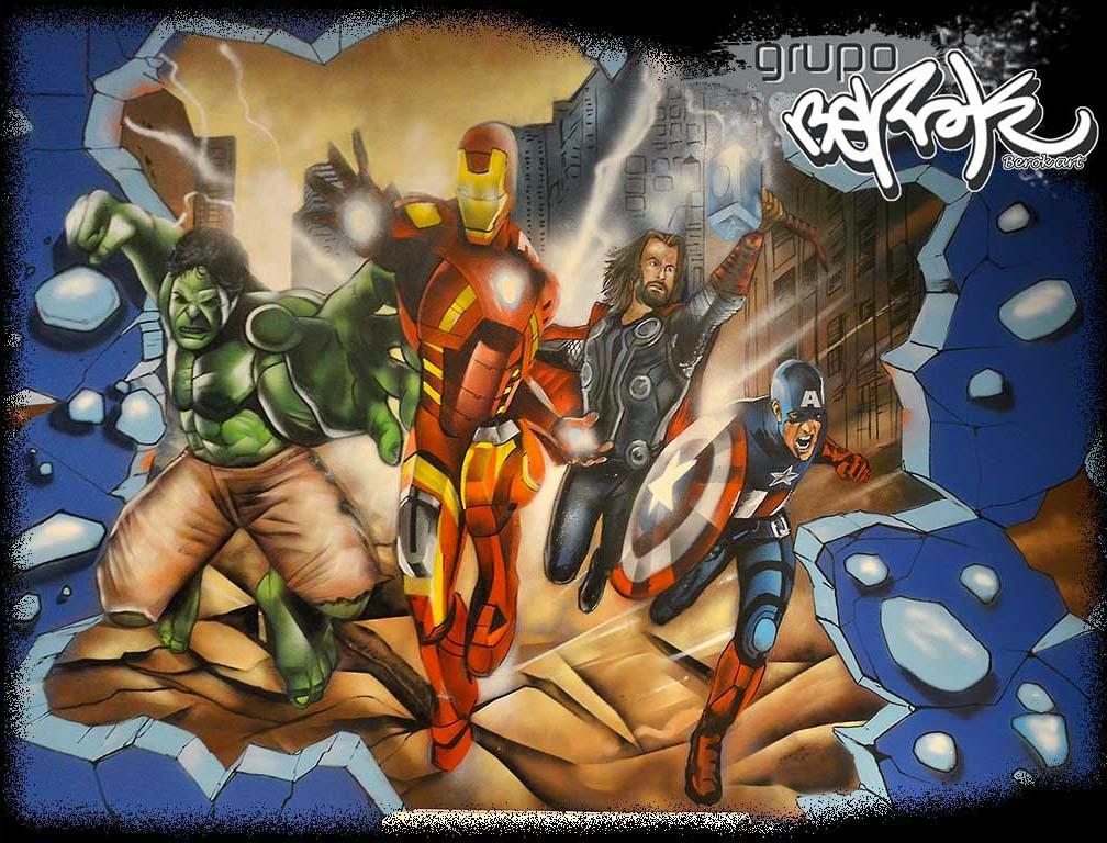 Graffiti mural de los Vengadores Marvel