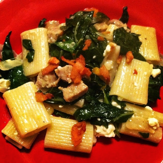 Rigatoni with Chicken Sausage and Collard Greens. Cooking Chat recipe.