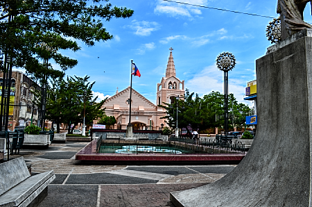 plaza rizal and san rafael church is opposite each other along penaranda st