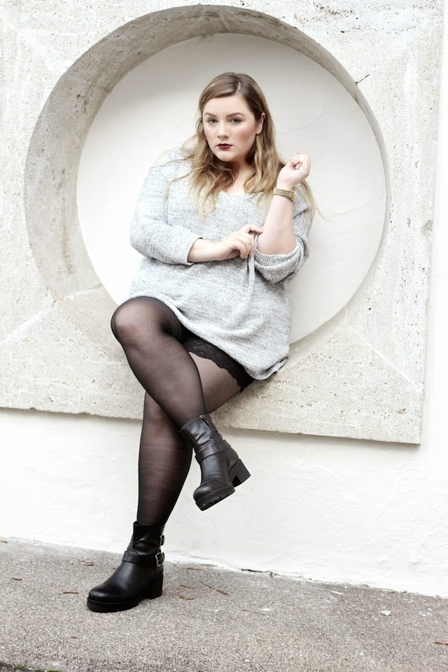 Plus Size Outfit grauer Pulli Oversized