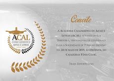 CONVITE ESPECIAL DE POSSE DA ACADEMIA CAJAZEIRENSE DE ARTES E LETRAS, DIA 24, 19H30, NO TÊNIS CLUBE