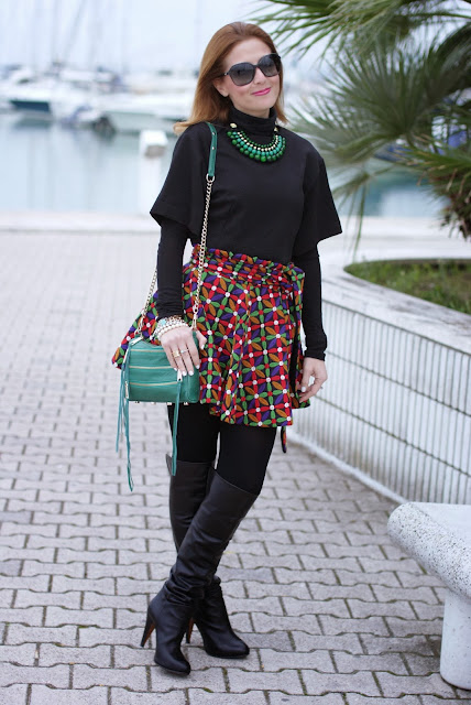 letthemstare.com, Let them stare bow skirt, over the knee boots, Rebecca Minkoff zipper bag, Fashion and Cookies, fashion blogger