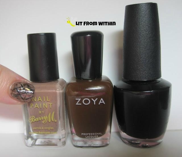 bottle shot:  Barry M. Mushroom, Zoya Louise, and OPI Black Onyx