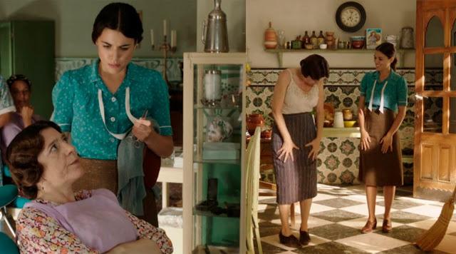 Sira Quiroga blusa verde y falda marrón. El tiempo entre costuras. Capítulo 2.