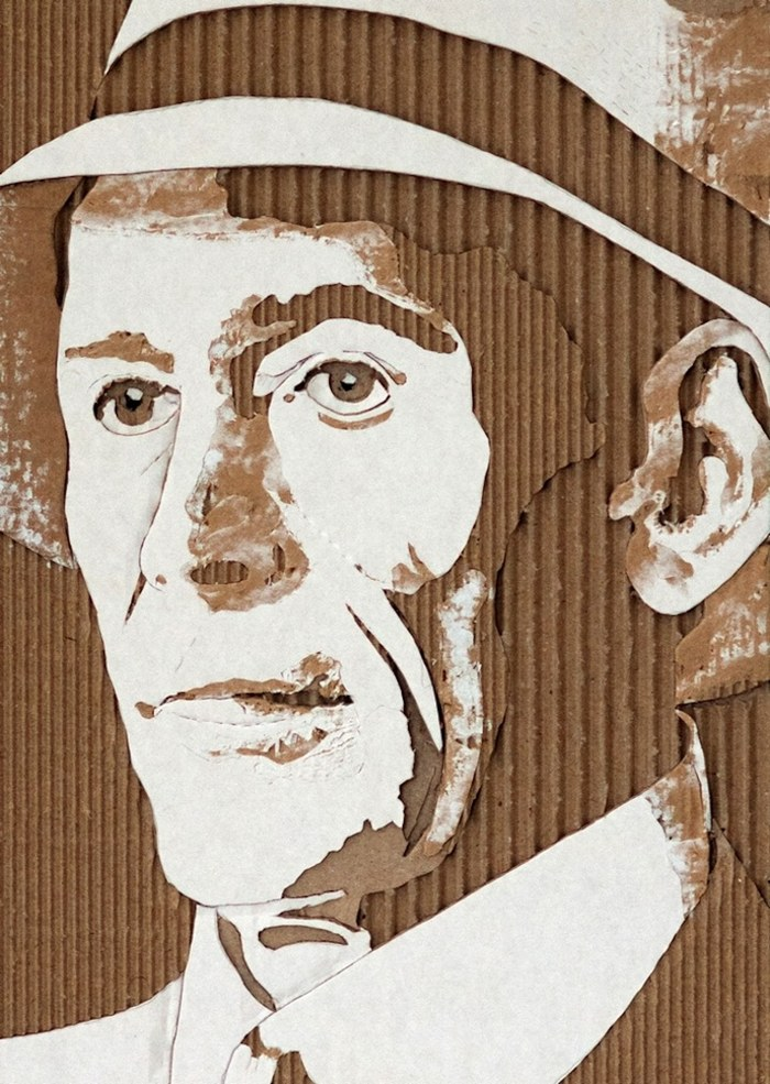 Artist Giles Oldershaw redesigns the discarded packaging he comes across as creative, layered portraits. By carving and tearing away at the material, Oldershaw exposes the ribbed texture sealed within. His meticulous precision and artistic ingenuity results in a spectacular set of Cardboard Relief Portraits.