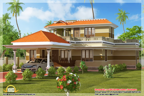 side view of 1700 square feet, 3 bhk Kerala style home design