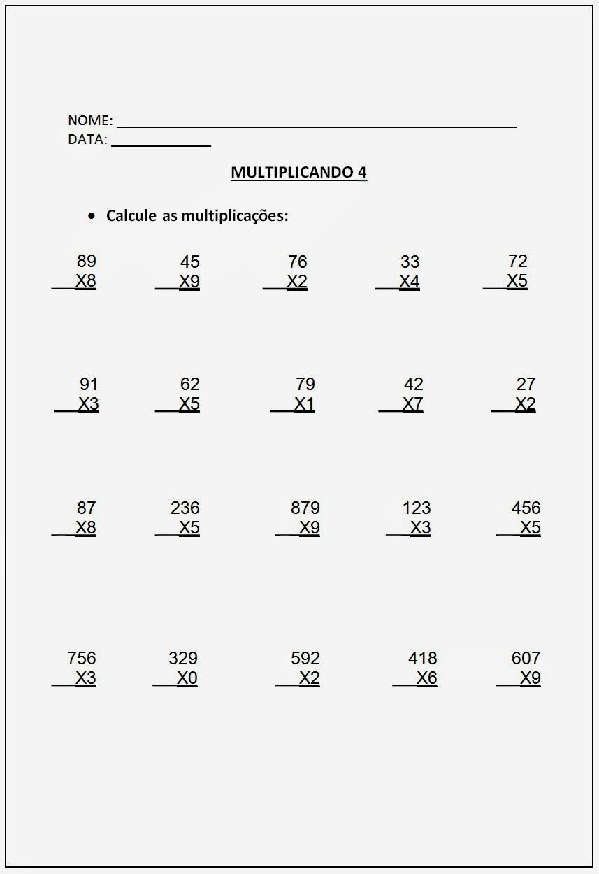 Altividades de Multiplicação - Atividades de Multiplicação 5º ano parte IV