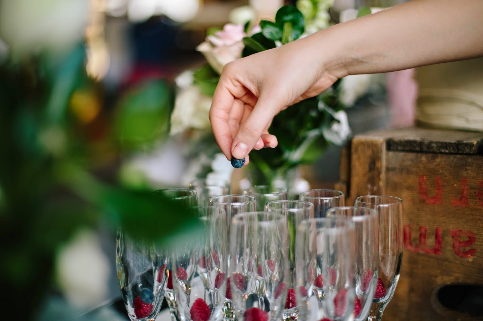 capturing wedding details raspberries and champagne photo
