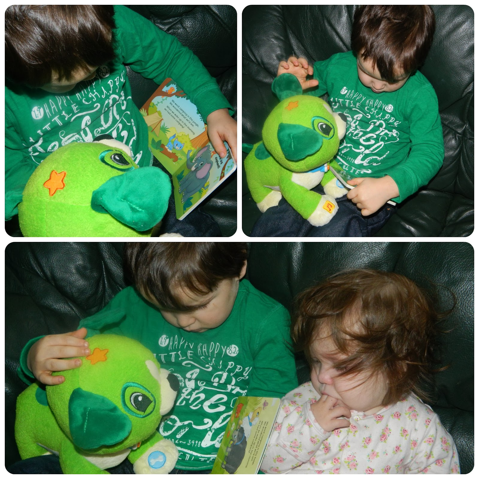 Bud and Little Miss Playing With Read with Me Scout from LeapFrog