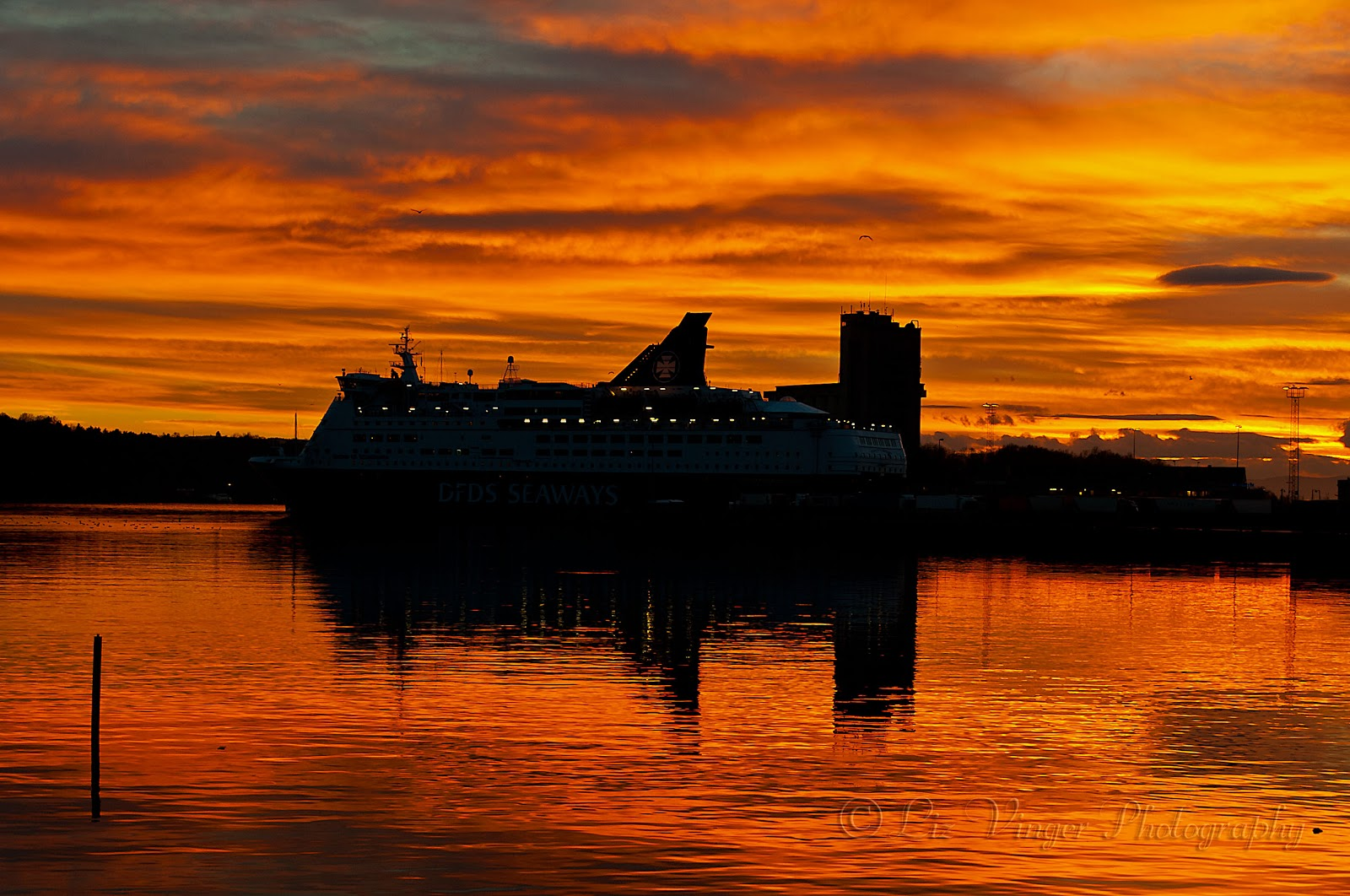 Sunset over Oslo and the DFDS Seaways ferry