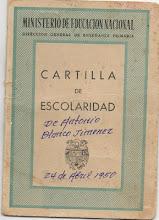 Cartilla de escolaridad de Antonio Blanco Jiménez. 24 de Abril de 1950