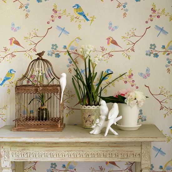 Passarinhos na decora o mo a fresca - Paredes decoradas con papel ...