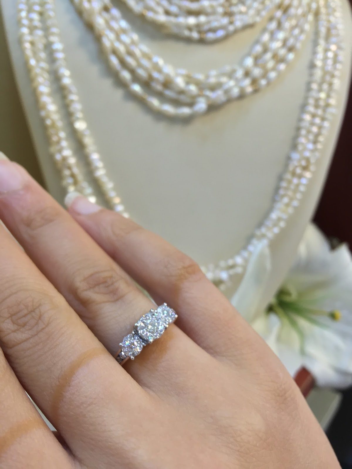 Diamond engagement rings alternatives -  A Traditional Past Present Future Engagement Ring However It Is Actually Made Out Of 3 Sections Of Multiple Diamonds Set As One Diamond In The Middle